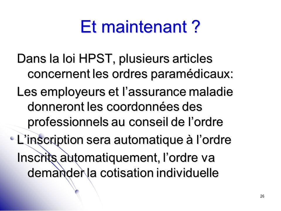 26 Et maintenant ? Dans la loi HPST, plusieurs articles concernent les ordres paramédicaux: Les employeurs et lassurance maladie donneront les coordon