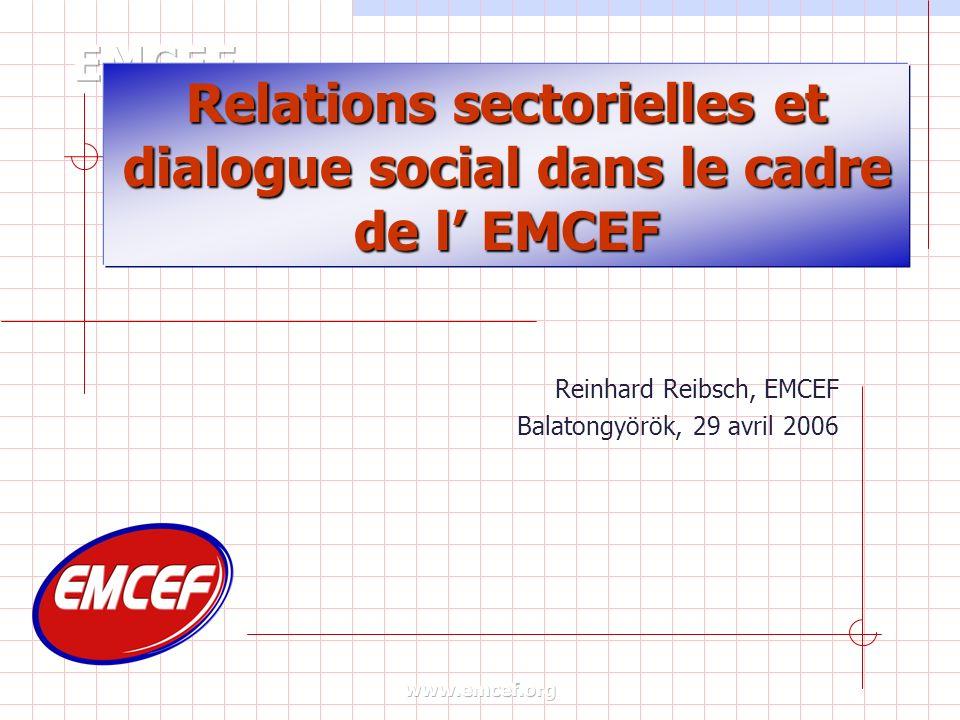 Relations sectorielles et dialogue social dans le cadre de l EMCEF Reinhard Reibsch, EMCEF Balatongyörök, 29 avril 2006