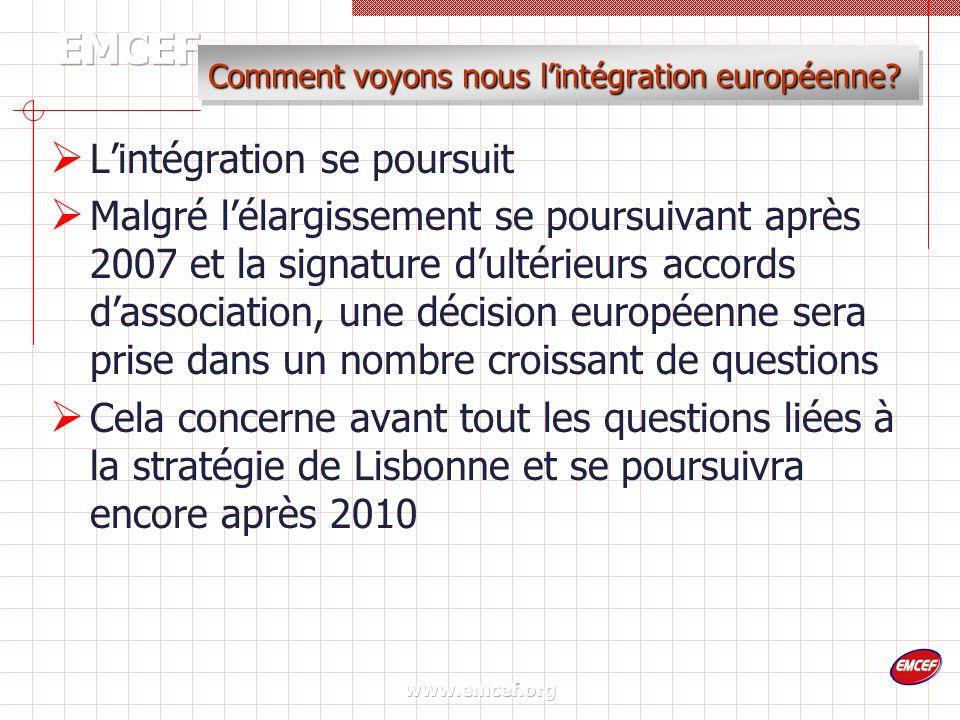 www.emcef.org Comment voyons nous lintégration européenne.
