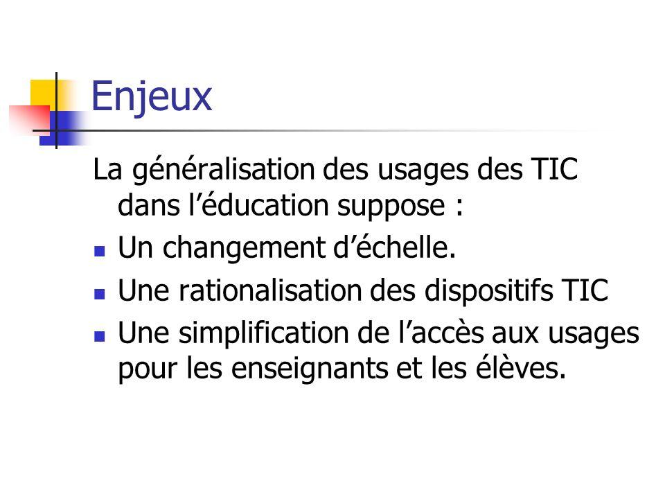 Enjeux La généralisation des usages des TIC dans léducation suppose : Un changement déchelle. Une rationalisation des dispositifs TIC Une simplificati
