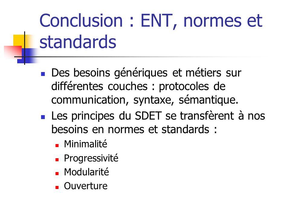 Conclusion : ENT, normes et standards Des besoins génériques et métiers sur différentes couches : protocoles de communication, syntaxe, sémantique. Le