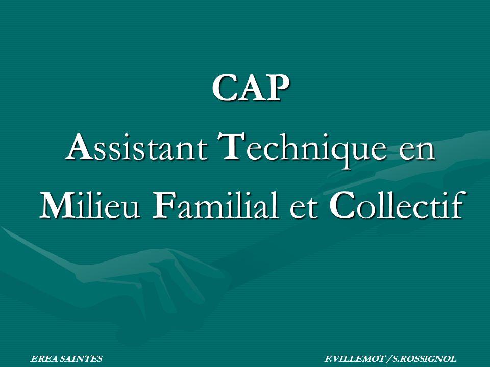 CAP Assistant Technique en Milieu Familial et Collectif EREA SAINTES F.VILLEMOT /S.ROSSIGNOL