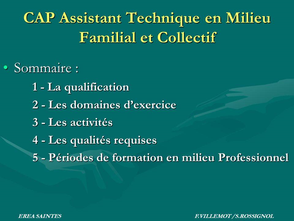 CAP Assistant Technique en Milieu Familial et Collectif Sommaire :Sommaire : 1 - La qualification 2 - Les domaines dexercice 3 - Les activités 4 - Les