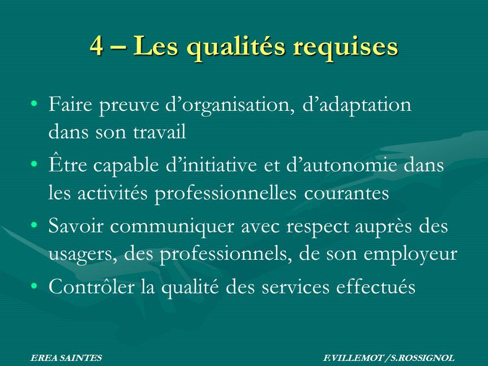 4 – Les qualités requises Faire preuve dorganisation, dadaptation dans son travail Être capable dinitiative et dautonomie dans les activités professio