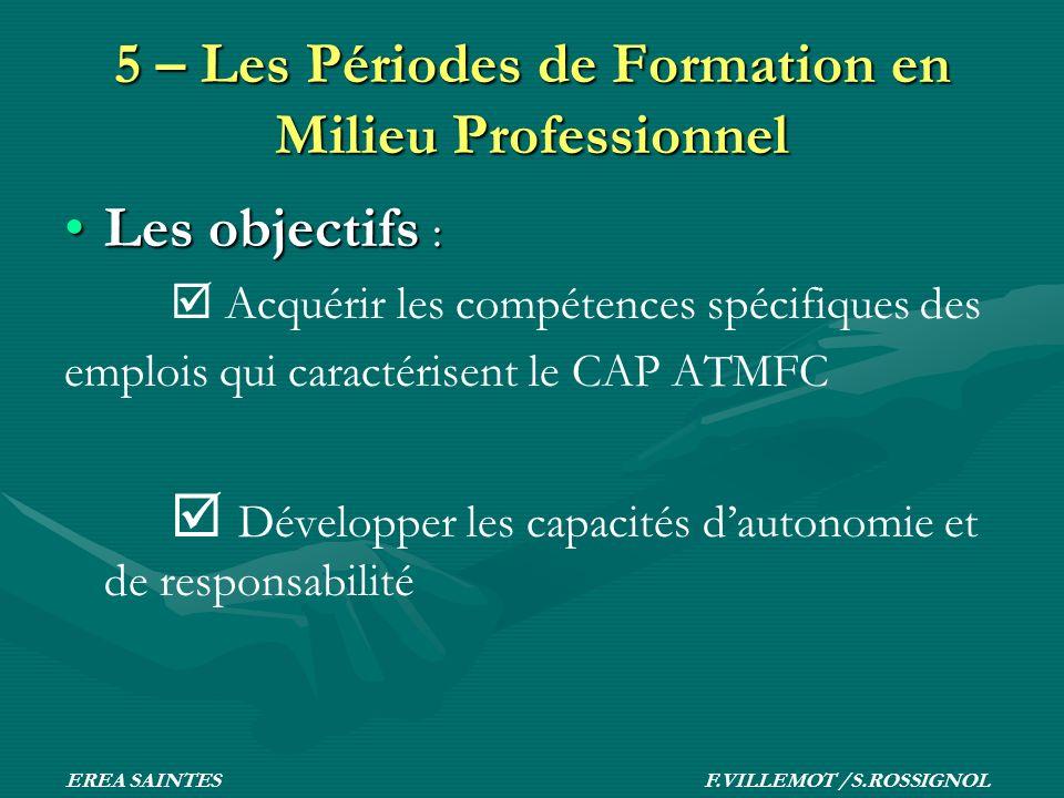 5 – Les Périodes de Formation en Milieu Professionnel Les objectifs :Les objectifs : Acquérir les compétences spécifiques des emplois qui caractérisen