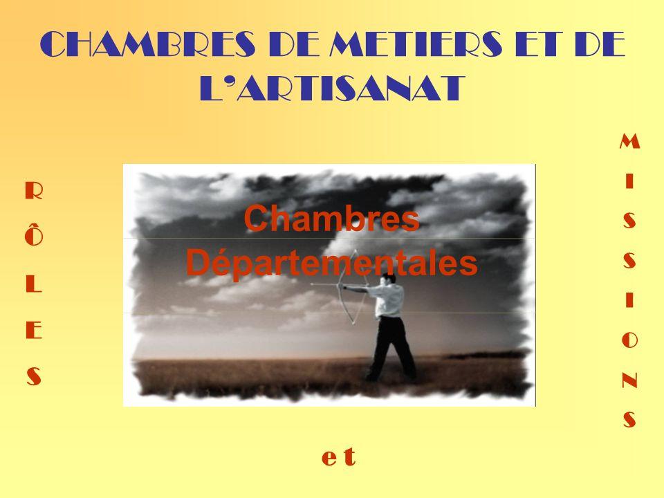 CHAMBRES DE METIERS ET DE LARTISANAT Chambres Départementales RÔLESRÔLES MISSIONSMISSIONS e t