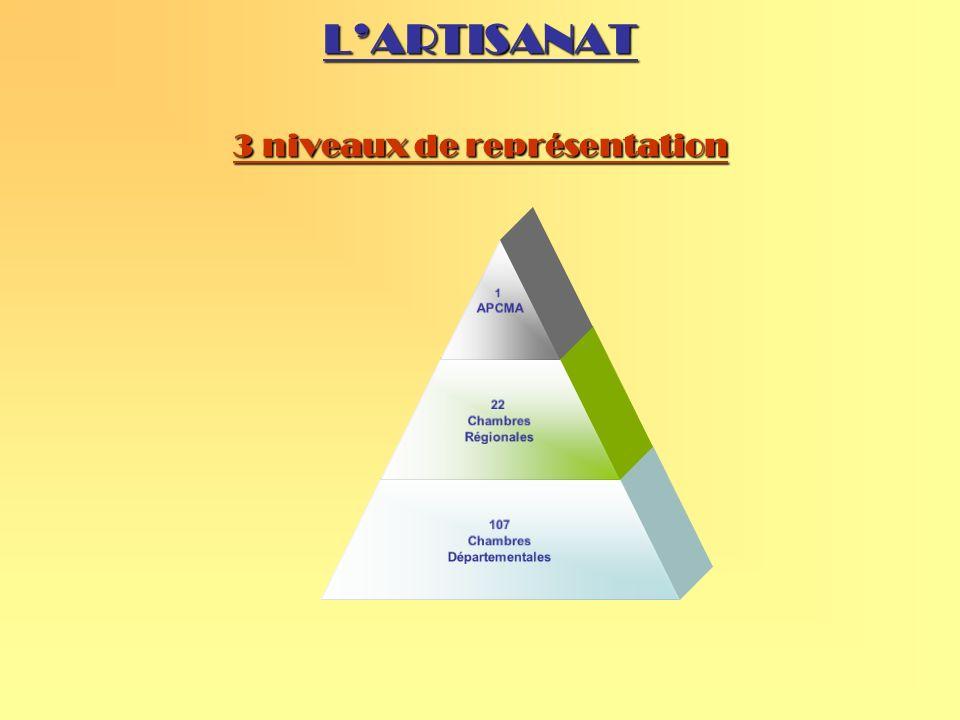 LARTISANAT 3 niveaux de représentation 1 APCMA 22 Chambres Régionales 107 Chambres Départementales