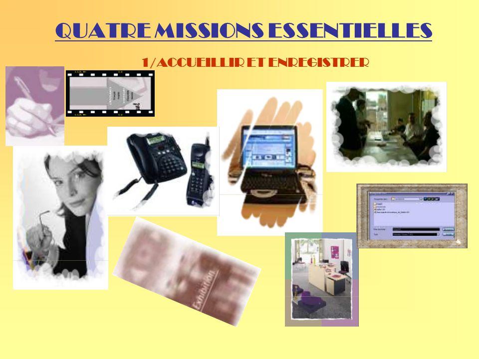 QUATRE MISSIONS ESSENTIELLES 1/ACCUEILLIR ET ENREGISTRER