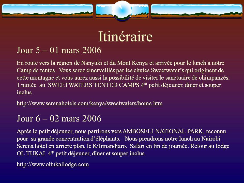 Itinéraire Jour 5 – 01 mars 2006 En route vers la région de Nanyuki et du Mont Kenya et arrivée pour le lunch à notre Camp de tentes. Vous serez émerv