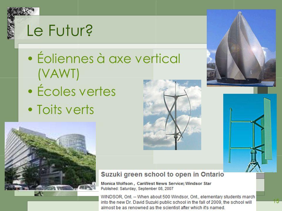 15 Le Futur? Éoliennes à axe vertical (VAWT) Écoles vertes Toits verts