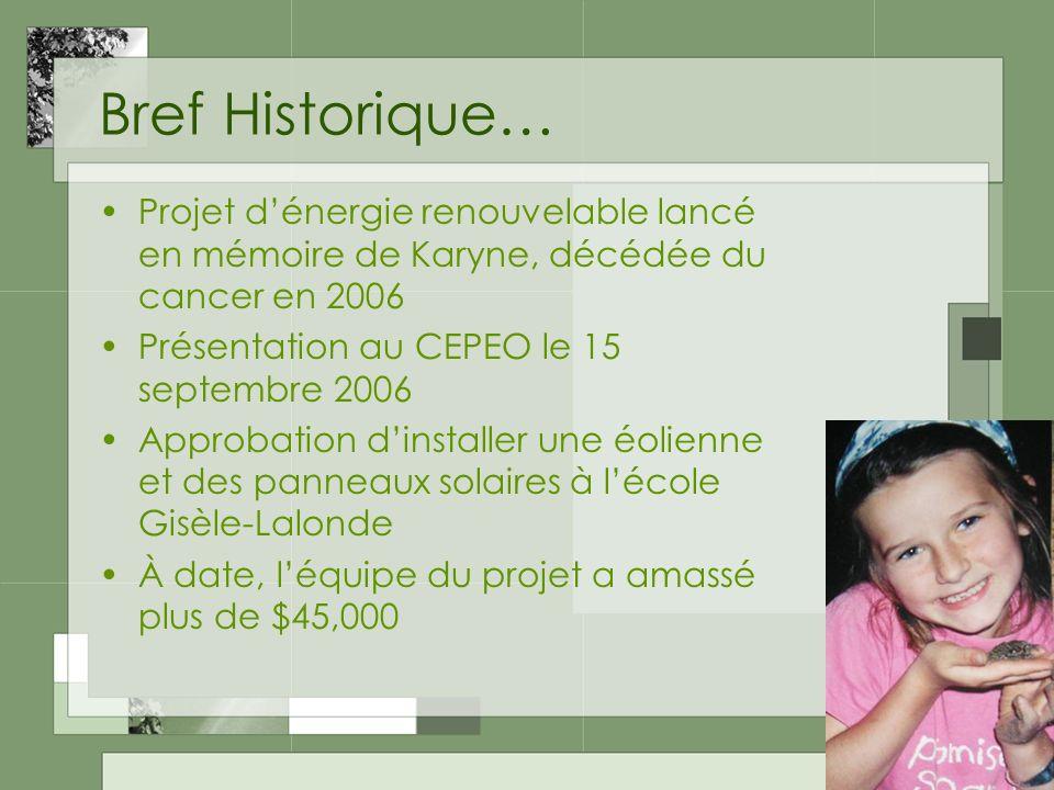 2 Bref Historique… Projet dénergie renouvelable lancé en mémoire de Karyne, décédée du cancer en 2006 Présentation au CEPEO le 15 septembre 2006 Approbation dinstaller une éolienne et des panneaux solaires à lécole Gisèle-Lalonde À date, léquipe du projet a amassé plus de $45,000