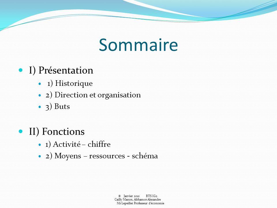 Sommaire I) Présentation 1) Historique 2) Direction et organisation 3) Buts II) Fonctions 1) Activité – chiffre 2) Moyens – ressources - schéma © Janv