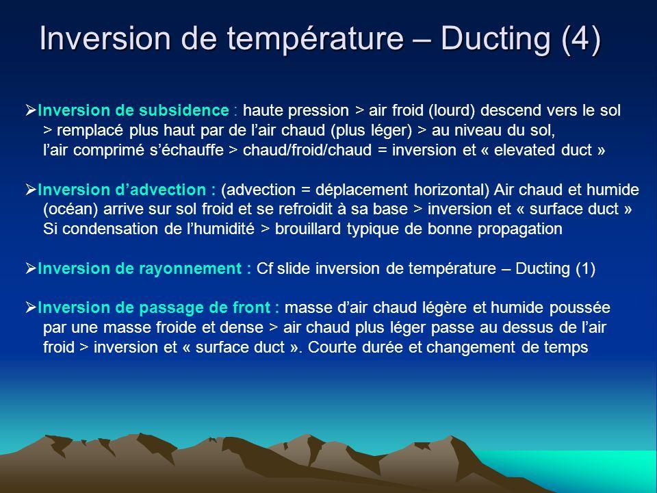 Inversion de température – Ducting (4) Inversion de subsidence : haute pression > air froid (lourd) descend vers le sol > remplacé plus haut par de lair chaud (plus léger) > au niveau du sol, lair comprimé séchauffe > chaud/froid/chaud = inversion et « elevated duct » Inversion dadvection : (advection = déplacement horizontal) Air chaud et humide (océan) arrive sur sol froid et se refroidit à sa base > inversion et « surface duct » Si condensation de lhumidité > brouillard typique de bonne propagation Inversion de rayonnement : Cf slide inversion de température – Ducting (1) Inversion de passage de front : masse dair chaud légère et humide poussée par une masse froide et dense > air chaud plus léger passe au dessus de lair froid > inversion et « surface duct ».