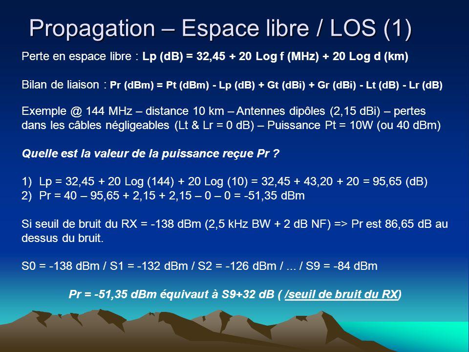 Propagation – Espace libre / LOS (1) Perte en espace libre : Lp (dB) = 32,45 + 20 Log f (MHz) + 20 Log d (km) Bilan de liaison : Pr (dBm) = Pt (dBm) - Lp (dB) + Gt (dBi) + Gr (dBi) - Lt (dB) - Lr (dB) Exemple @ 144 MHz – distance 10 km – Antennes dipôles (2,15 dBi) – pertes dans les câbles négligeables (Lt & Lr = 0 dB) – Puissance Pt = 10W (ou 40 dBm) Quelle est la valeur de la puissance reçue Pr .