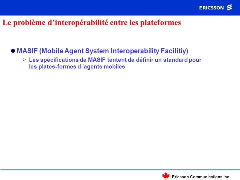 Ericsson Communications Inc. MASIF (Mobile Agent System Interoperability Facilitiy) >Les spécifications de MASIF tentent de définir un standard pour l