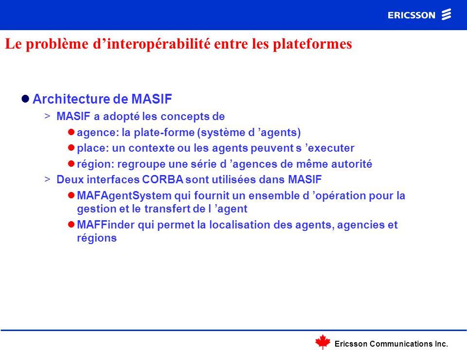 Ericsson Communications Inc. Architecture de MASIF >MASIF a adopté les concepts de agence: la plate-forme (système d agents) place: un contexte ou les