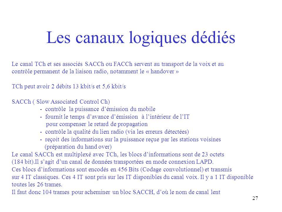27 Les canaux logiques dédiés Le canal TCh et ses associés SACCh ou FACCh servent au transport de la voix et au contrôle permanent de la liaison radio
