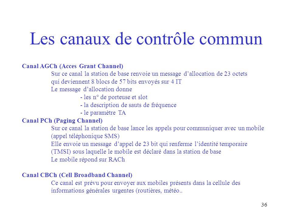 36 Les canaux de contrôle commun Canal AGCh (Acces Grant Channel) Sur ce canal la station de base renvoie un message dallocation de 23 octets qui devi