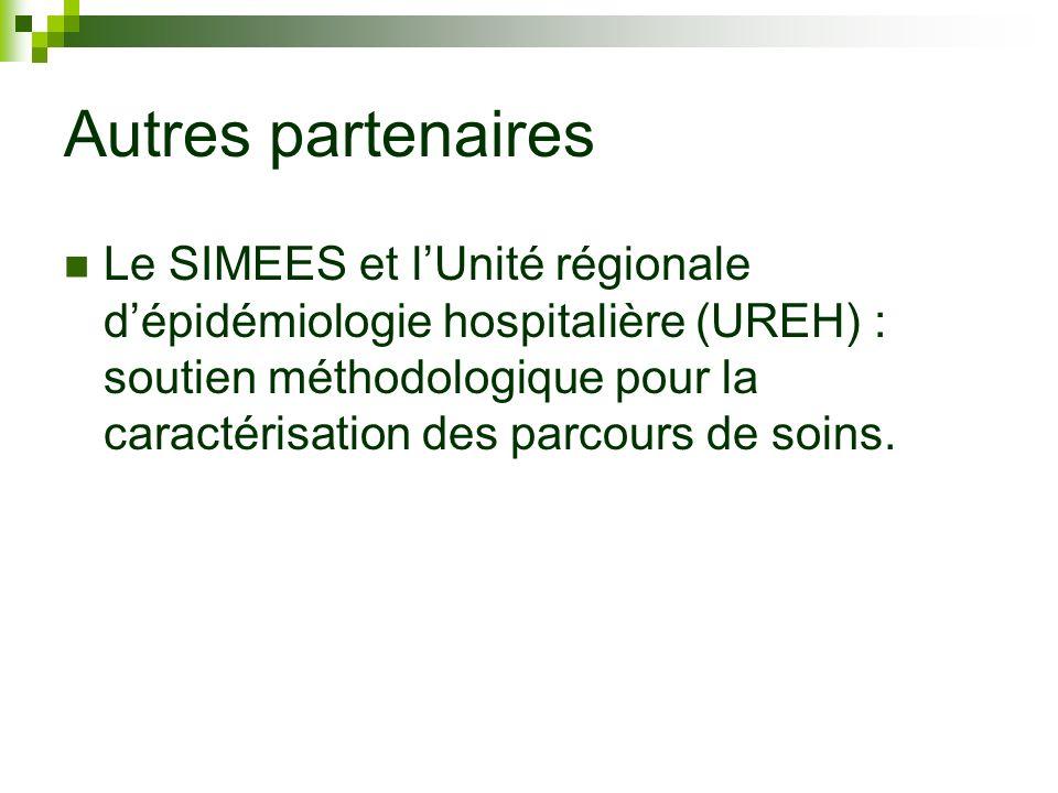 Autres partenaires Le SIMEES et lUnité régionale dépidémiologie hospitalière (UREH) : soutien méthodologique pour la caractérisation des parcours de s
