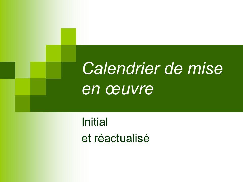 Calendrier de mise en œuvre Initial et réactualisé