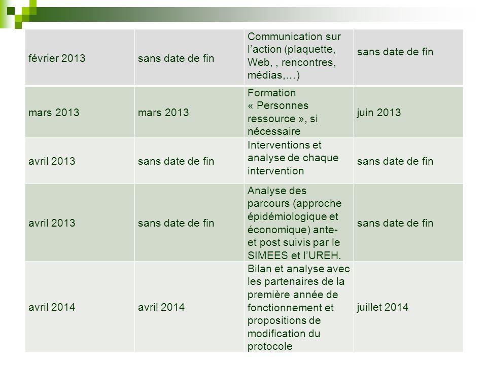 février 2013sans date de fin Communication sur laction (plaquette, Web,, rencontres, médias,…) sans date de fin mars 2013 Formation « Personnes ressou