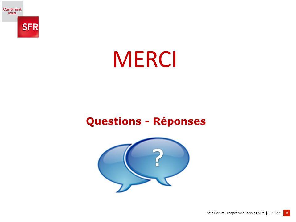 28/03/11 9 5 ème Forum Européen de laccessibilité Questions - Réponses MERCI