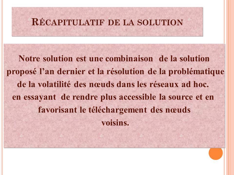 Notre solution est une combinaison de la solution proposé lan dernier et la résolution de la problématique de la volatilité des nœuds dans les réseaux