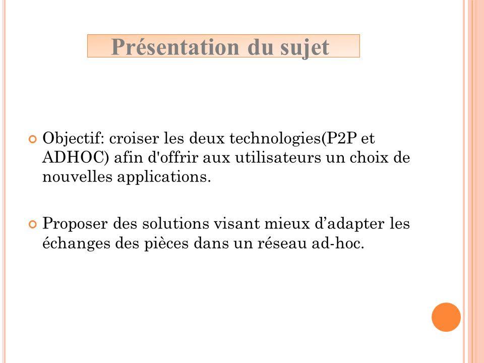 Objectif: croiser les deux technologies(P2P et ADHOC) afin d'offrir aux utilisateurs un choix de nouvelles applications. Proposer des solutions visant