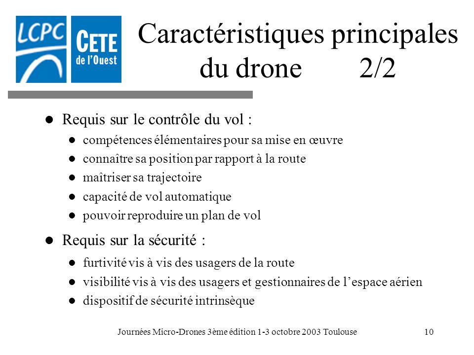 Journées Micro-Drones 3ème édition 1-3 octobre 2003 Toulouse10 Caractéristiques principales du drone 2/2 Requis sur le contrôle du vol : compétences é