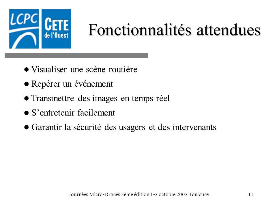 Journées Micro-Drones 3ème édition 1-3 octobre 2003 Toulouse11 Fonctionnalités attendues Visualiser une scène routière Repérer un événement Transmettr
