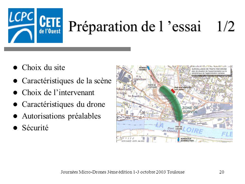 Journées Micro-Drones 3ème édition 1-3 octobre 2003 Toulouse20 Préparation de l essai 1/2 Choix du site Caractéristiques de la scène Choix de linterve