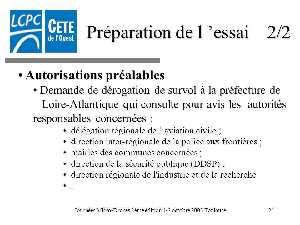 Journées Micro-Drones 3ème édition 1-3 octobre 2003 Toulouse21 Préparation de l essai 2/2 Autorisations préalables Demande de dérogation de survol à l