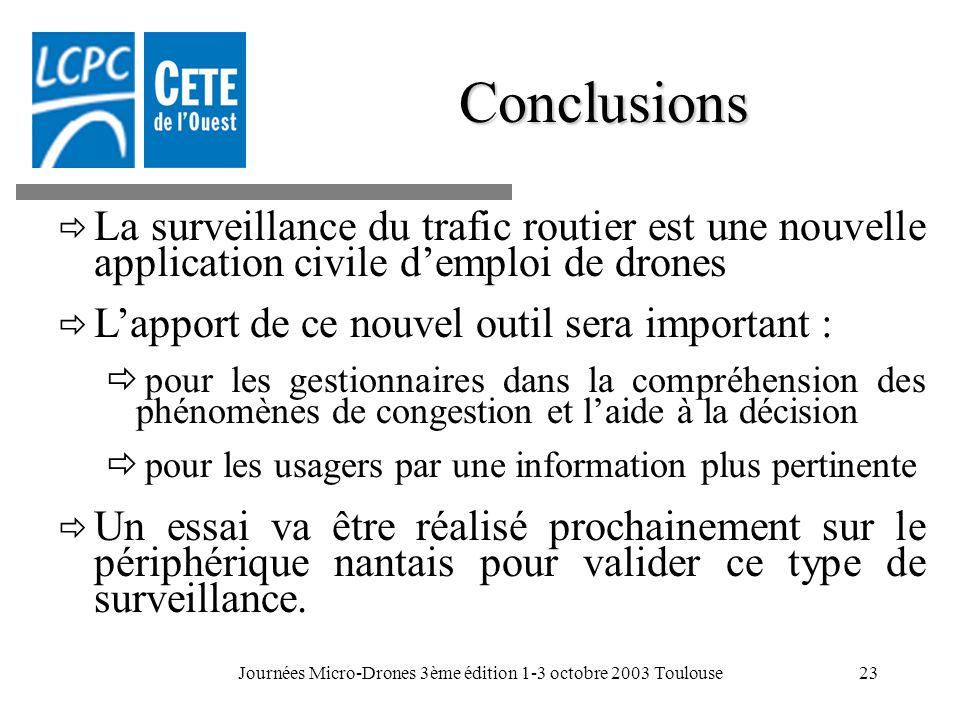 Journées Micro-Drones 3ème édition 1-3 octobre 2003 Toulouse23 La surveillance du trafic routier est une nouvelle application civile demploi de drones