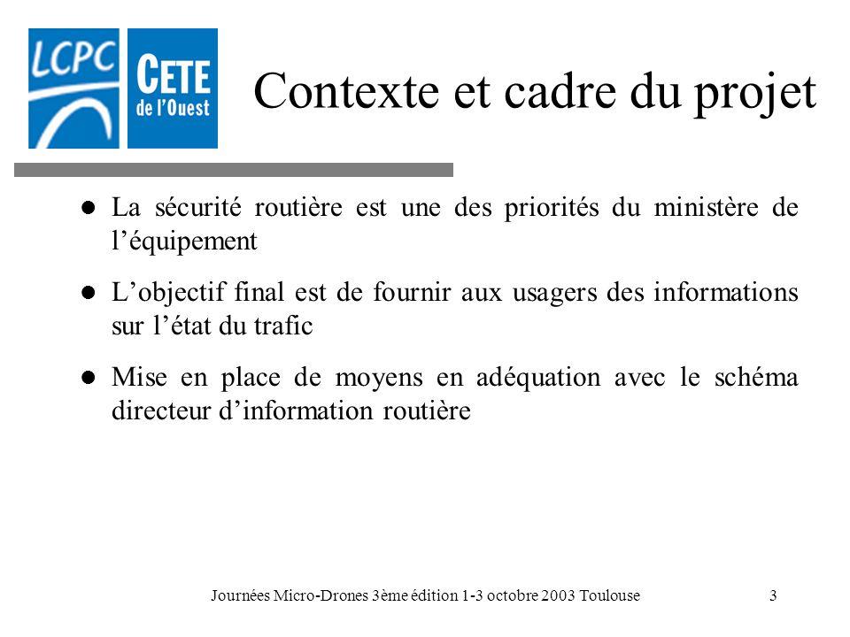 Journées Micro-Drones 3ème édition 1-3 octobre 2003 Toulouse3 Contexte et cadre du projet La sécurité routière est une des priorités du ministère de l