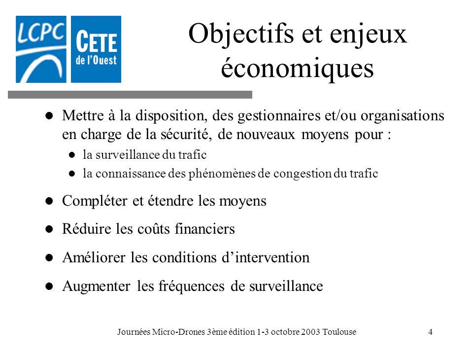 Journées Micro-Drones 3ème édition 1-3 octobre 2003 Toulouse4 Objectifs et enjeux économiques Mettre à la disposition, des gestionnaires et/ou organis