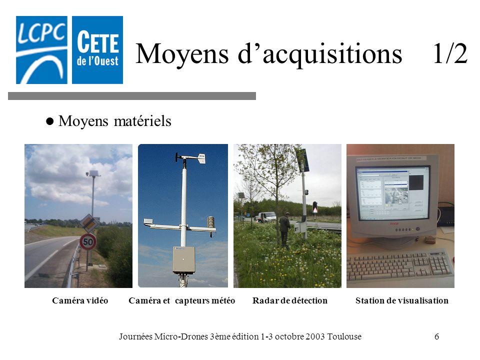 Journées Micro-Drones 3ème édition 1-3 octobre 2003 Toulouse6 Moyens dacquisitions 1/2 Caméra et capteurs météoCaméra vidéoStation de visualisationRad