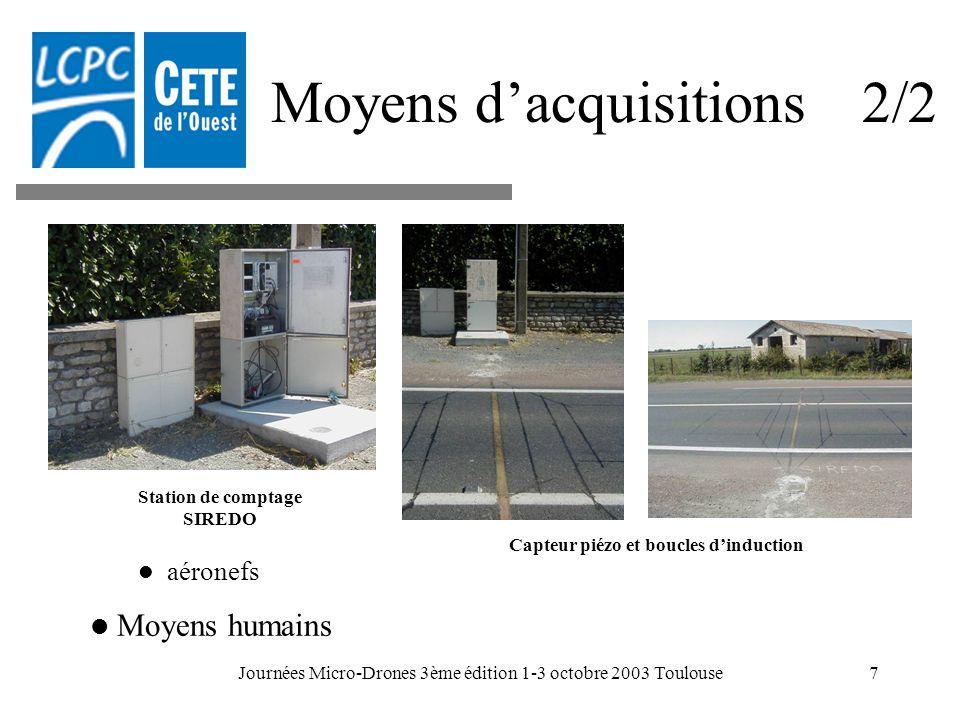 Journées Micro-Drones 3ème édition 1-3 octobre 2003 Toulouse7 Moyens dacquisitions 2/2 Station de comptage SIREDO Capteur piézo et boucles dinduction