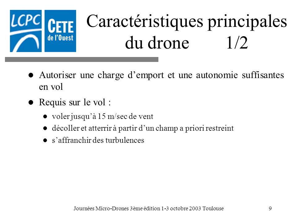 Journées Micro-Drones 3ème édition 1-3 octobre 2003 Toulouse9 Caractéristiques principales du drone 1/2 Autoriser une charge demport et une autonomie