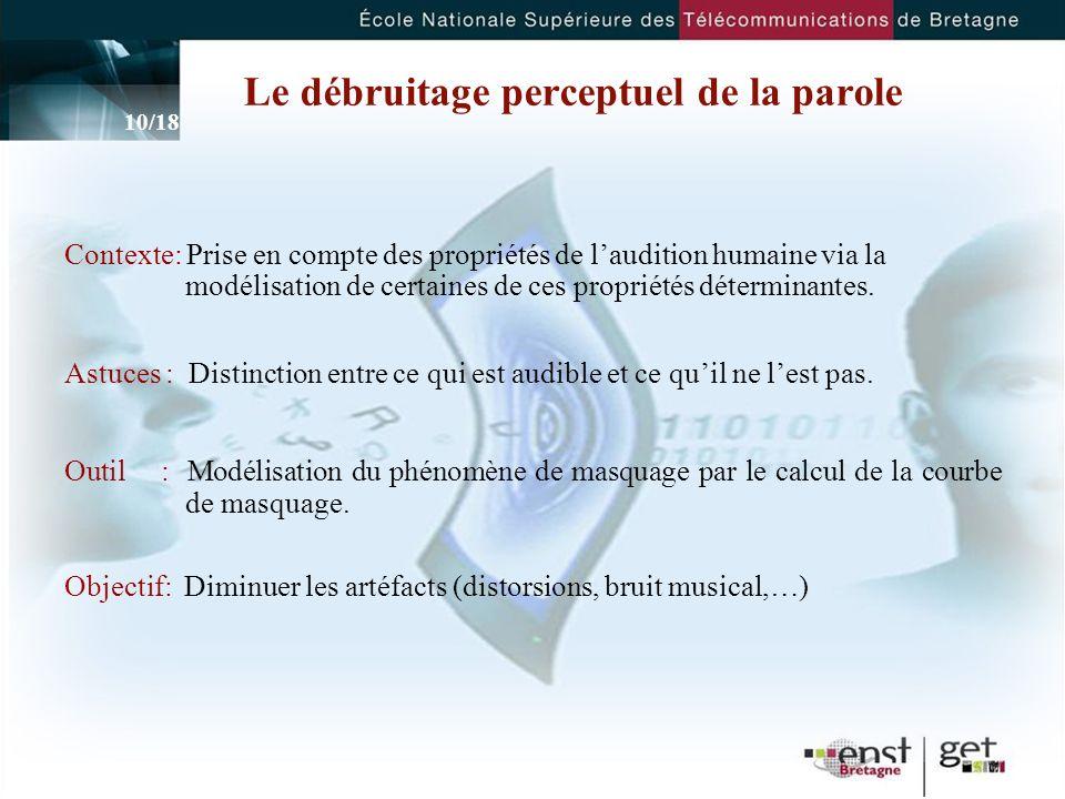 10 Le débruitage perceptuel de la parole Contexte: Prise en compte des propriétés de laudition humaine via la modélisation de certaines de ces propriétés déterminantes.
