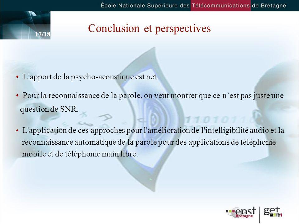 17 Conclusion et perspectives Lapport de la psycho-acoustique est net.