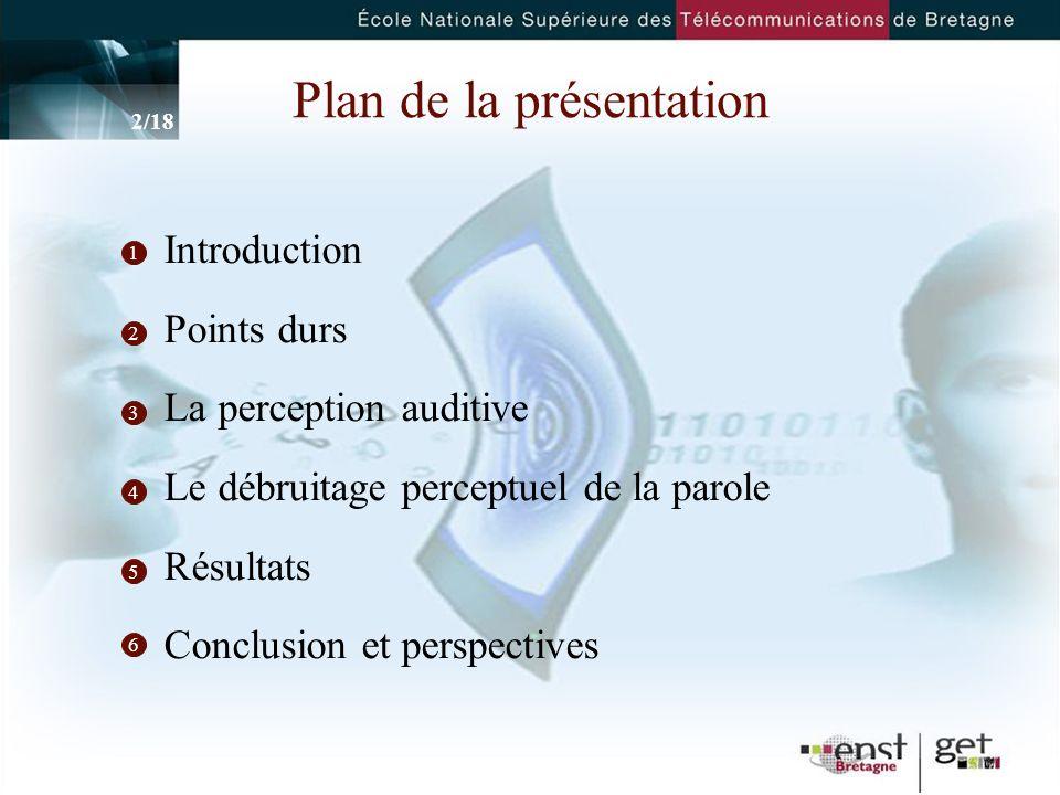 2 Plan de la présentation Introduction Points durs La perception auditive Le débruitage perceptuel de la parole Résultats Conclusion et perspectives 1 2 3 4 5 2/18 6