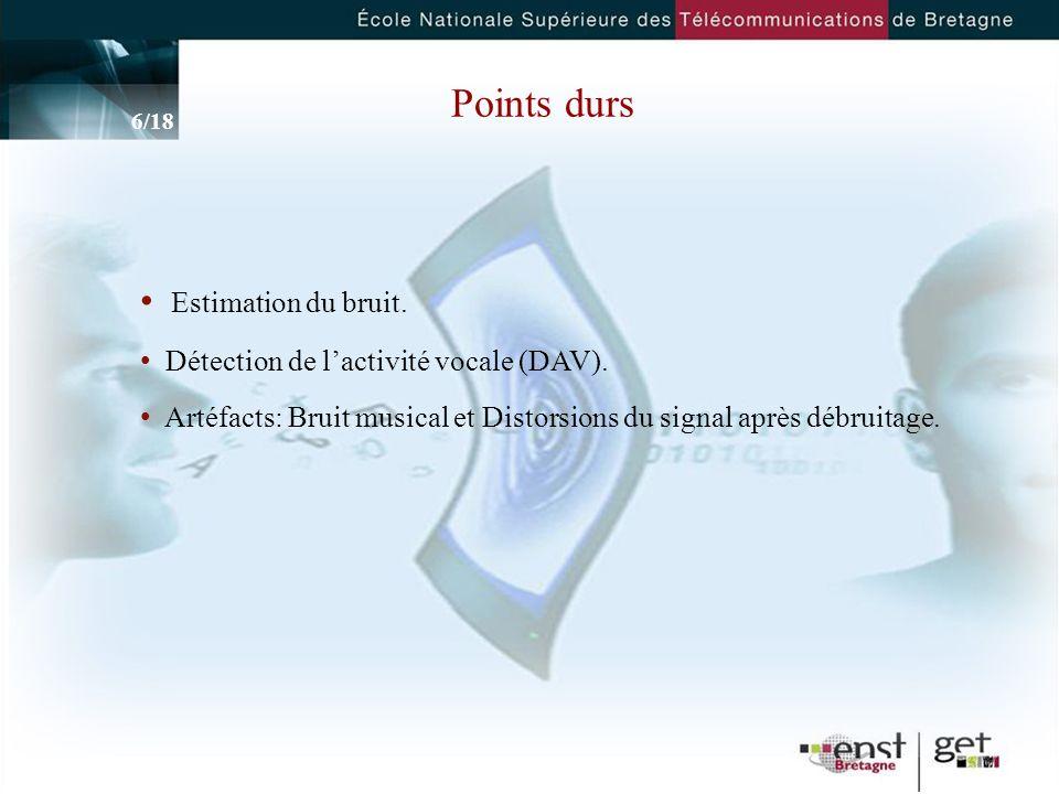 6 Points durs Estimation du bruit.Détection de lactivité vocale (DAV).