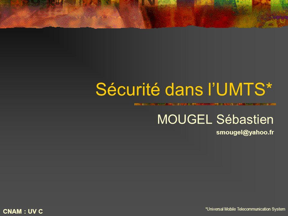 Sécurité dans lUMTS* MOUGEL Sébastien smougel@yahoo.fr *Universal Mobile Telecommunication System CNAM : UV C