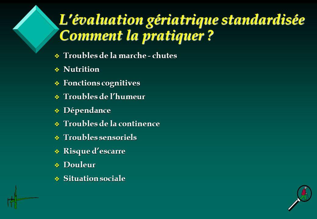 v Troubles de la marche - chutes v Nutrition v Fonctions cognitives v Troubles de lhumeur v Dépendance v Troubles de la continence v Troubles sensorie