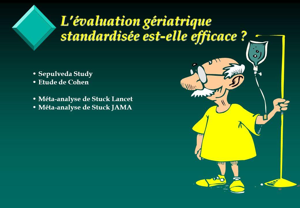 Lévaluation gériatrique standardisée est-elle efficace ? Sepulveda Study Etude de Cohen Méta-analyse de Stuck Lancet Méta-analyse de Stuck JAMA