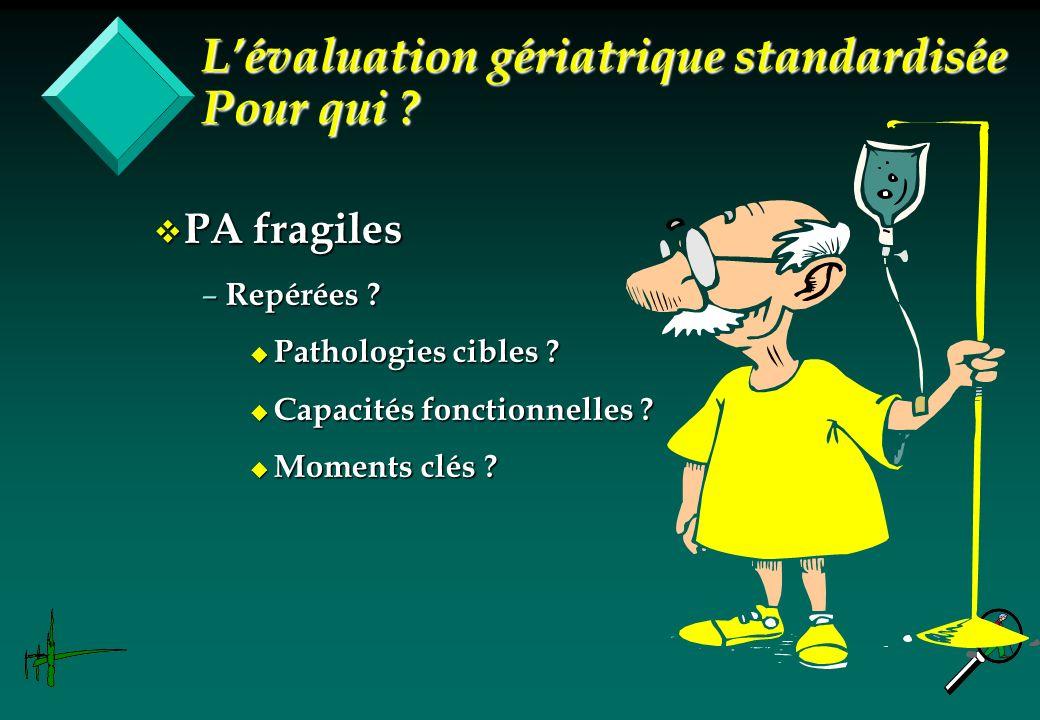 v PA fragiles – Repérées ? u Pathologies cibles ? u Capacités fonctionnelles ? u Moments clés ? Lévaluation gériatrique standardisée Pour qui ?