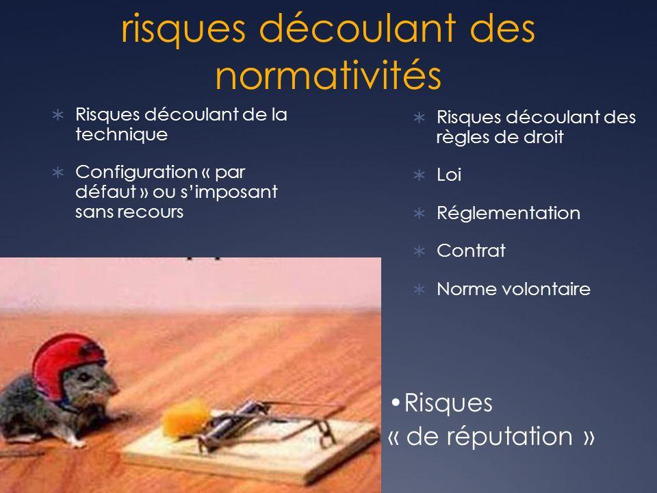 risques découlant des normativités Risques découlant de la technique Configuration « par défaut » ou simposant sans recours Risques découlant des règles de droit Loi Réglementation Contrat Norme volontaire Risques « de réputation »