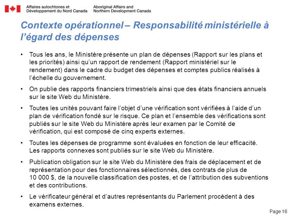 Page 16 Contexte opérationnel – Responsabilité ministérielle à légard des dépenses Tous les ans, le Ministère présente un plan de dépenses (Rapport su