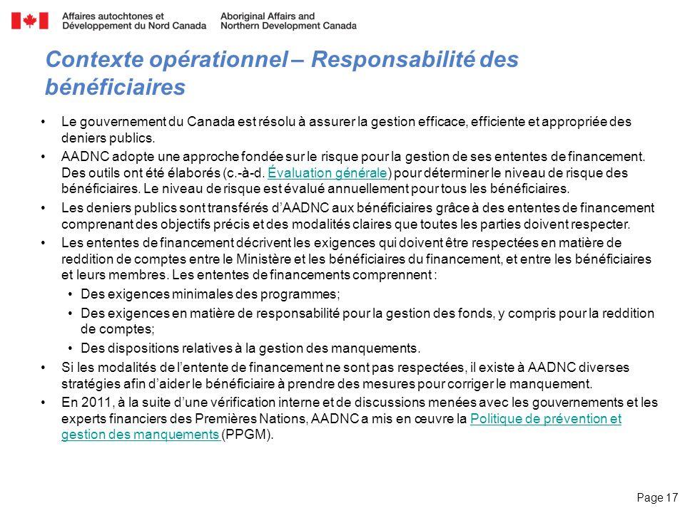 Page 17 Contexte opérationnel – Responsabilité des bénéficiaires Le gouvernement du Canada est résolu à assurer la gestion efficace, efficiente et app