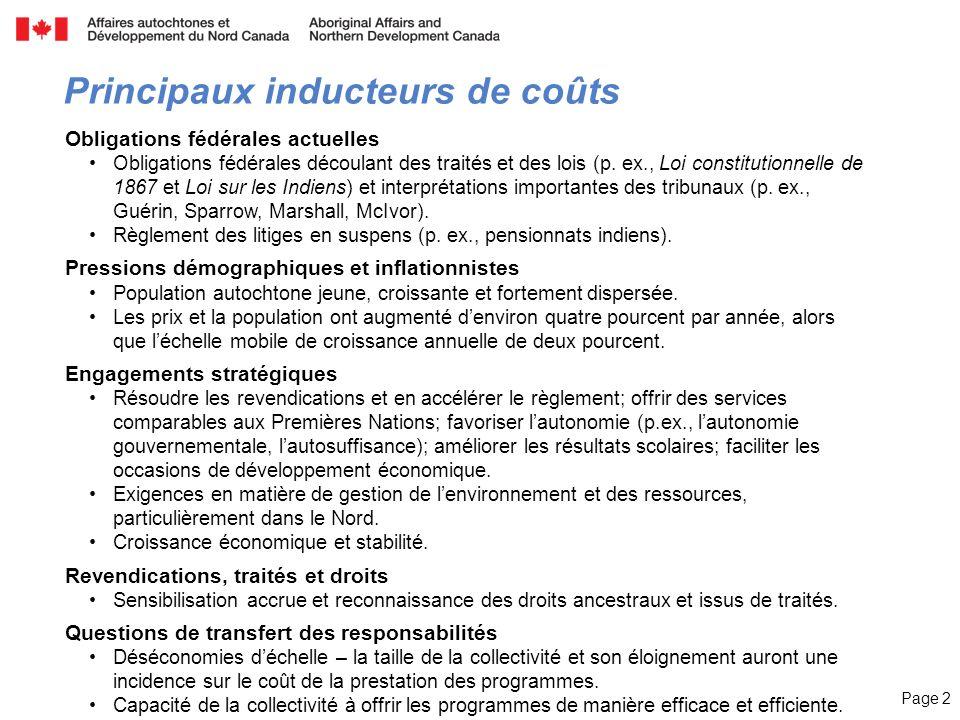 Page 2 Principaux inducteurs de coûts Obligations fédérales actuelles Obligations fédérales découlant des traités et des lois (p. ex., Loi constitutio